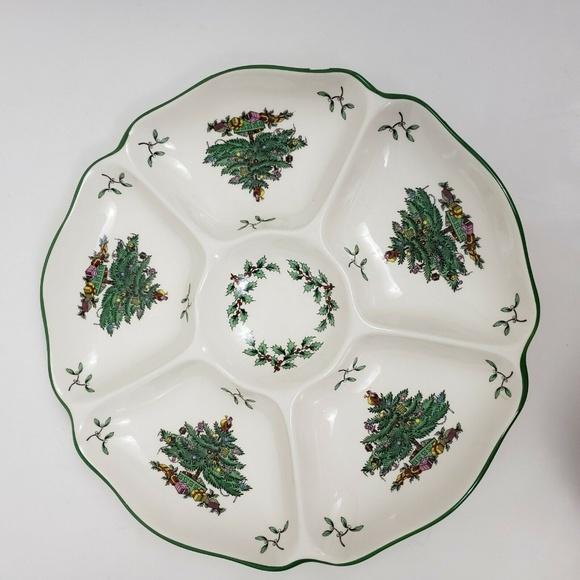Spode Christmas Plates.Spode Christmas Tree Serving Tray Rose Plate Dish